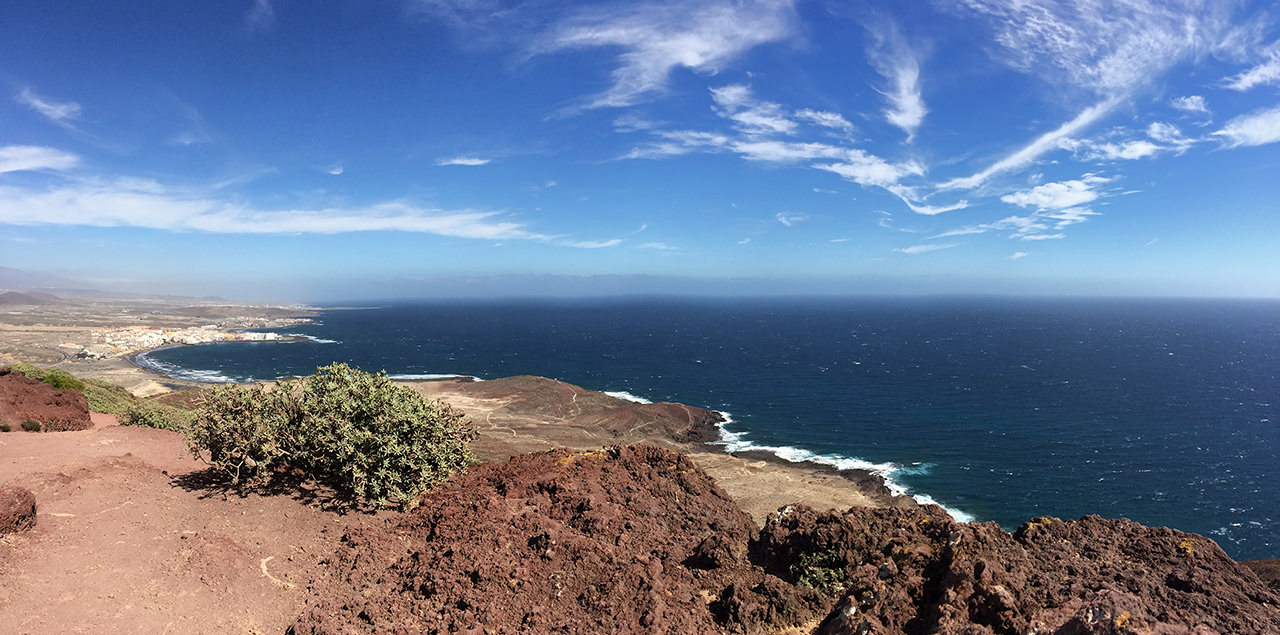 View from La Montaña Roja over El Medano, Tenerife, Spain
